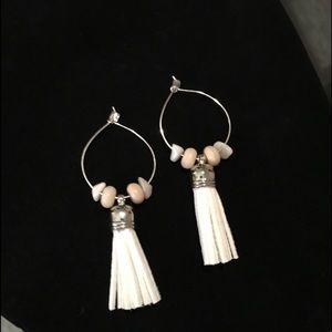 New! Handmade Boho White Hoops